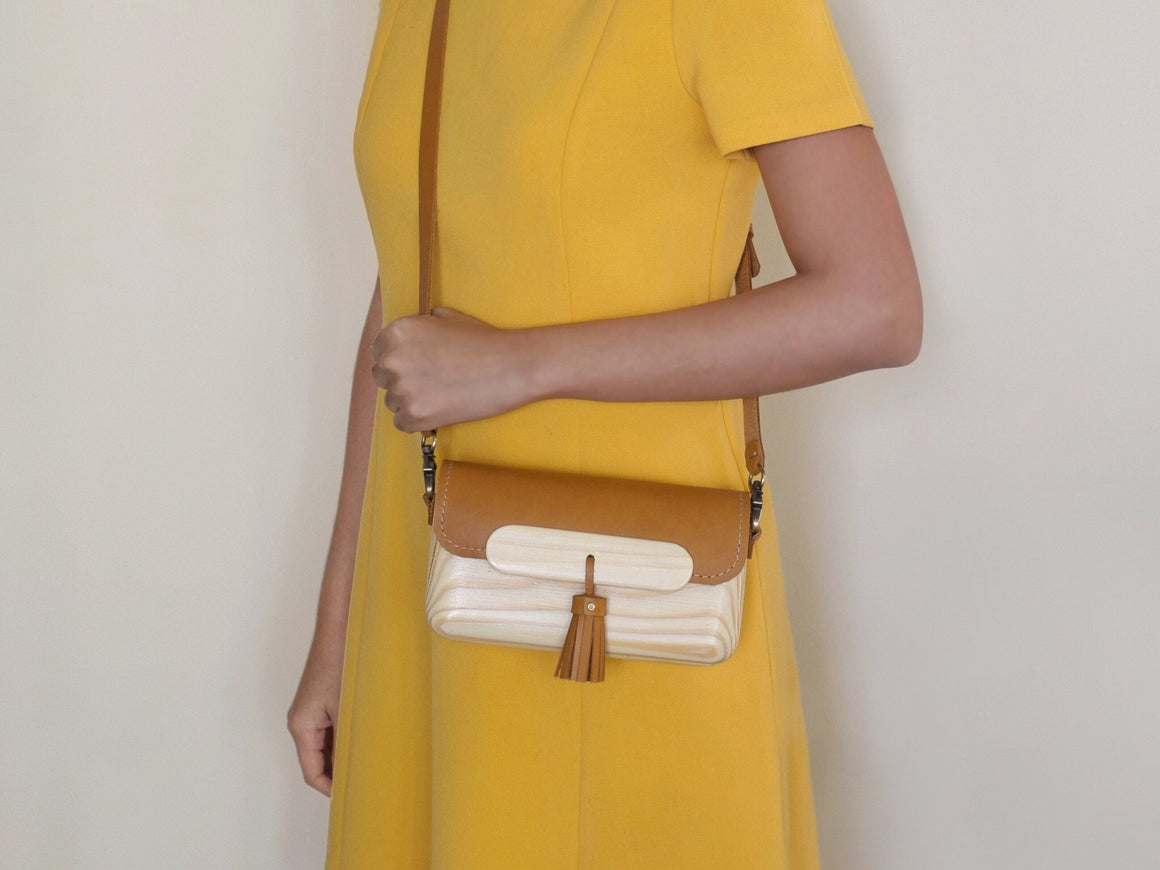 Pinewood+Leather Bag (Tan-Medium), Bags by Ryoko Bags Dubai. Hand Stitched, using vegetable tanned Japanese leather