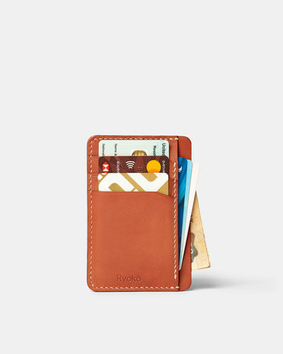 MT Java Slim Wallet | Tan, Wallets by Ryoko Bags Dubai. Hand Stitched, using vegetable tanned Japanese leather