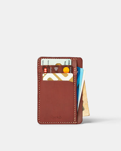 MT Java Slim Wallet | Wine, Wallets by Ryoko Bags Dubai. Hand Stitched, using vegetable tanned Japanese leather