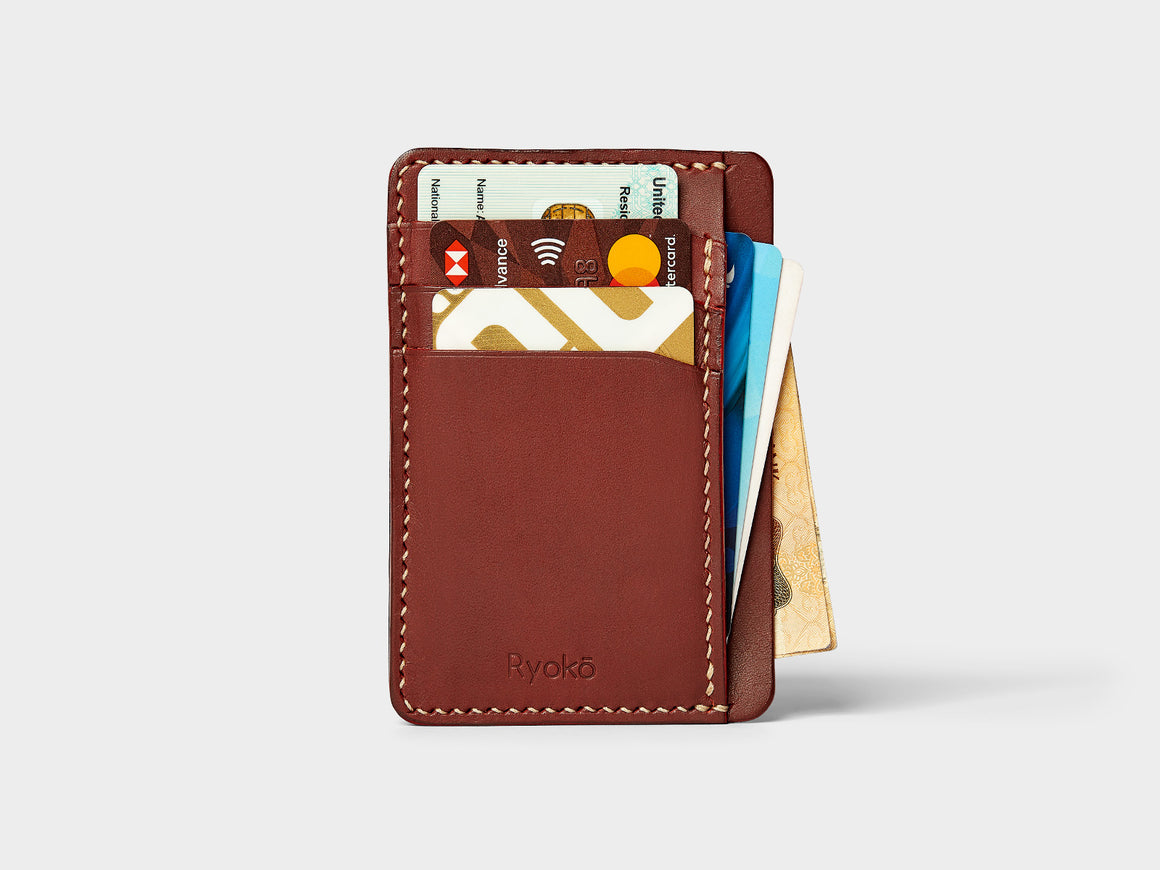 JAVA Wallet - Wine & Black, Wallets by Ryoko Bags Dubai. Hand Stitched, using vegetable tanned Japanese leather