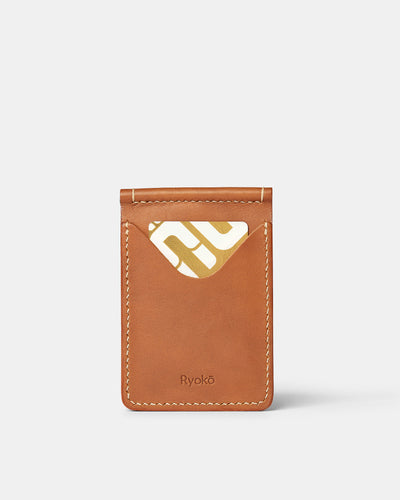 MT Jones Clip Wallet | Tan, Wallets by Ryoko Bags Dubai. Hand Stitched, using vegetable tanned Japanese leather