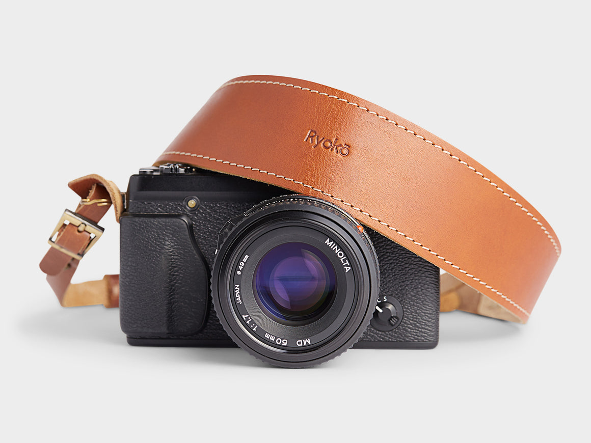 LÉON Camera Strap, Camera Accessories by Ryoko Bags Dubai. Hand Stitched, using vegetable tanned Japanese leather
