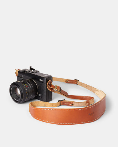 MT Lèon Camera Strap,  by Ryoko Bags Dubai. Hand Stitched, using vegetable tanned Japanese leather