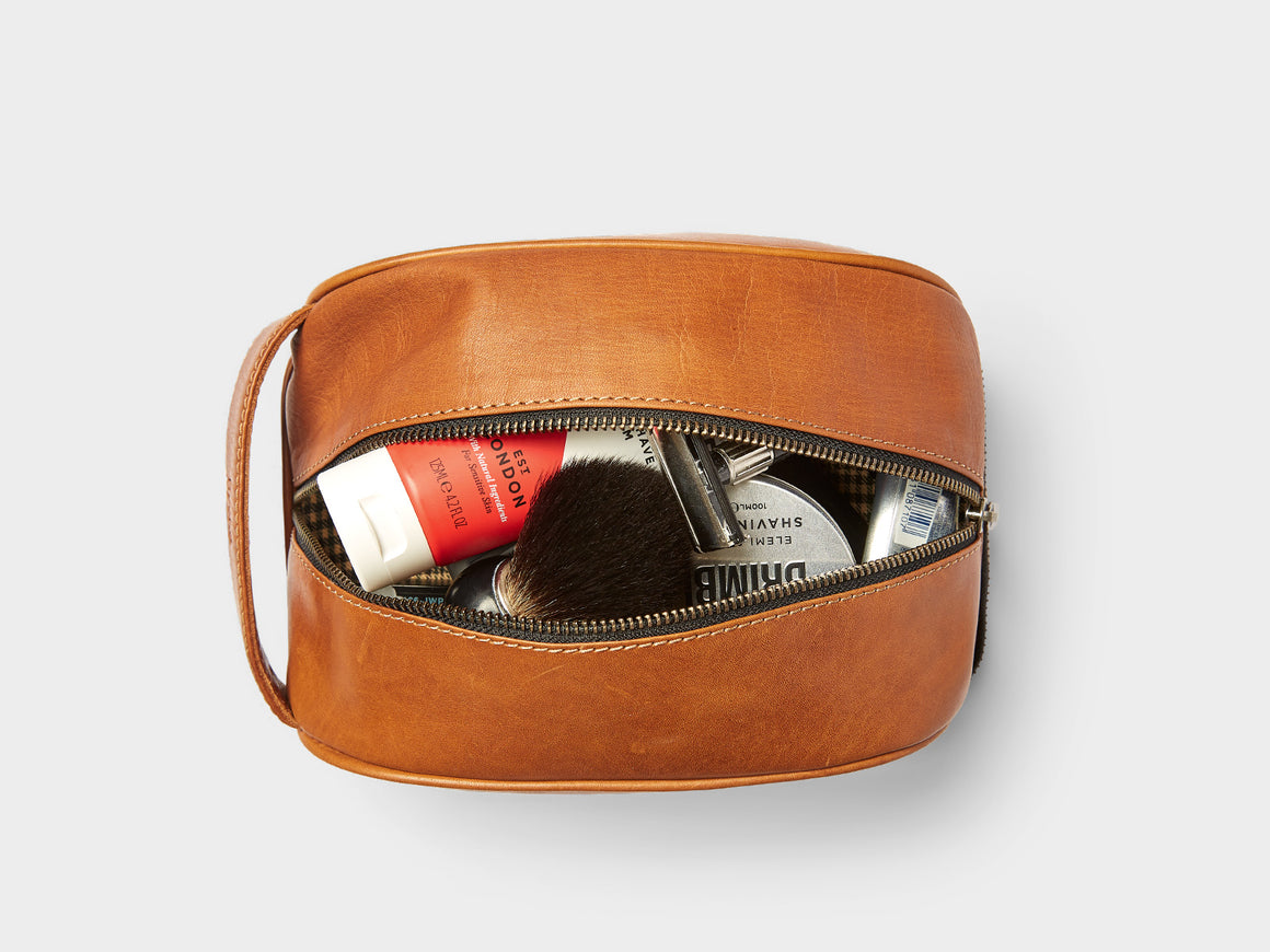 LIWA Dopp Kit - Toiletry Bag, Travel/Camera Bags by Ryoko Bags Dubai. Hand Stitched, using vegetable tanned Japanese leather