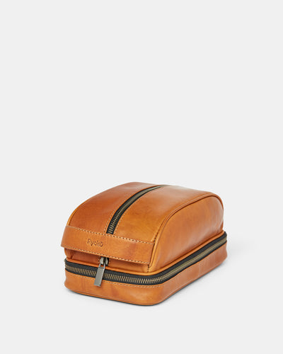 MT Liwa Dopp Kit | Tan,  by Ryoko Bags Dubai. Hand Stitched, using vegetable tanned Japanese leather