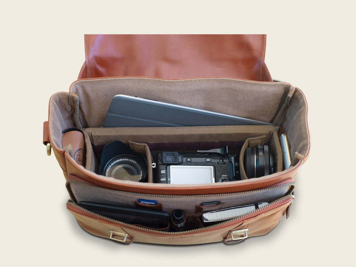 MADISON Travel/Camera Bag, Travel/Camera Bags by Ryoko Bags. Hand-Stitched Japanese Leather Goods
