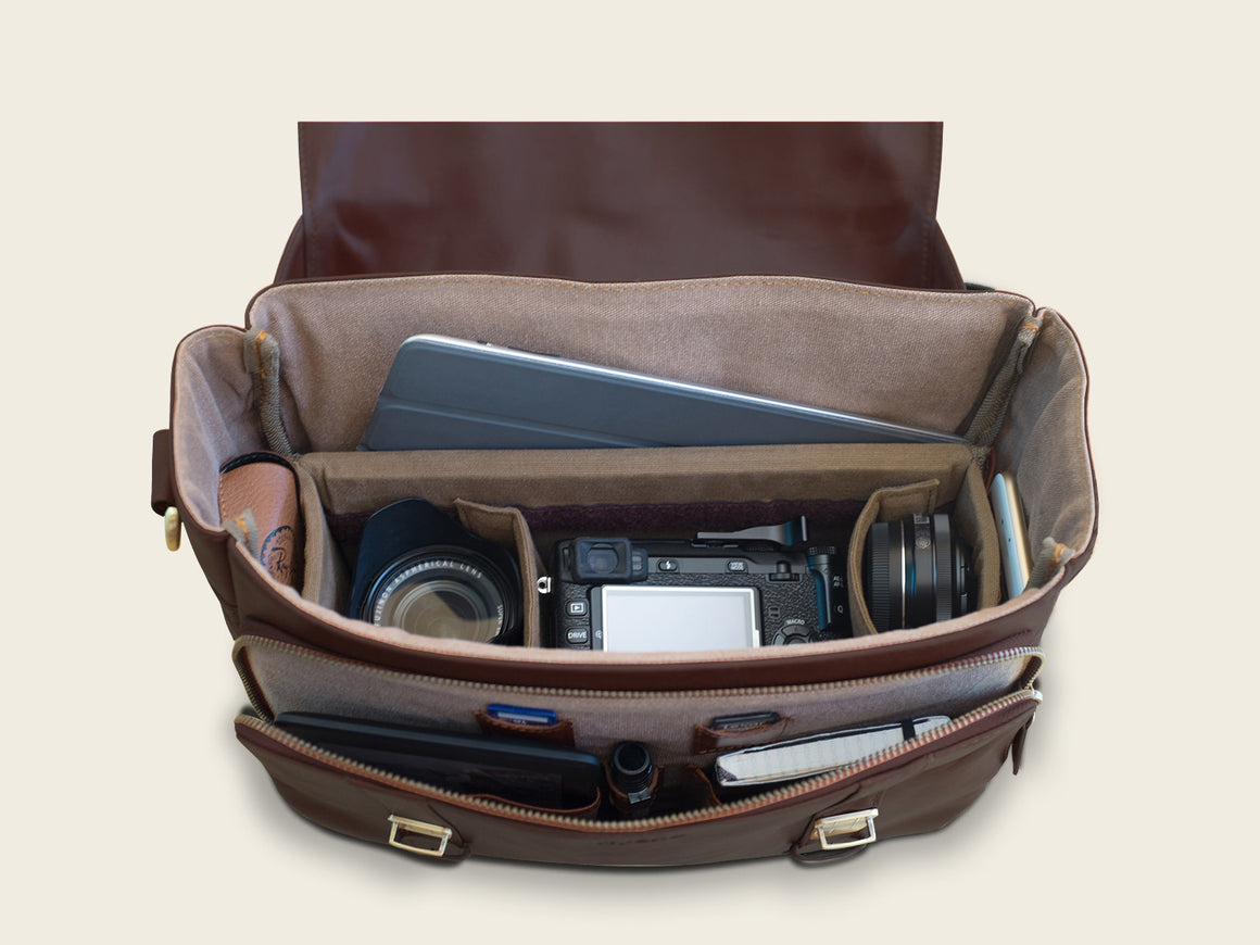 PARMA Travel/Camera Bag, Travel/Camera Bags by Ryoko Bags Dubai. Hand Stitched, using vegetable tanned Japanese leather