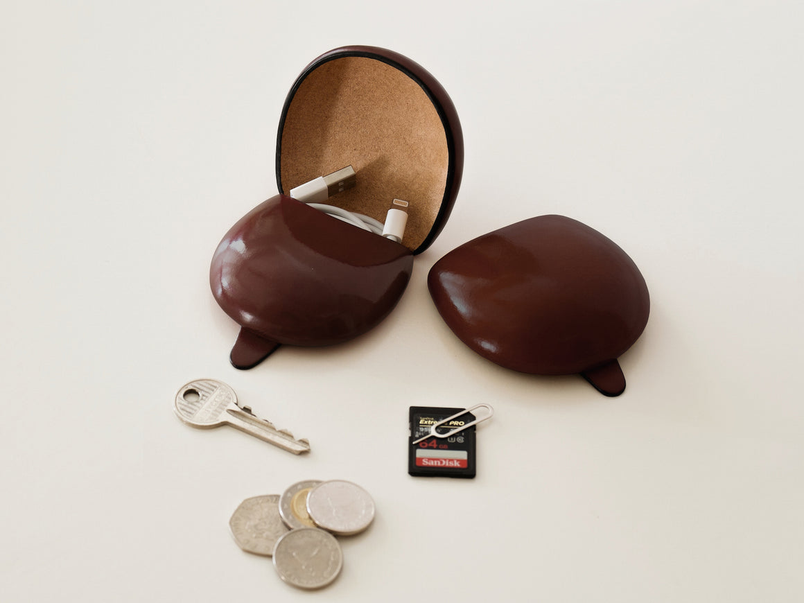 PETRA Coin Case - Brown, Wallets by Ryoko Bags Dubai. Hand Stitched, using vegetable tanned Japanese leather