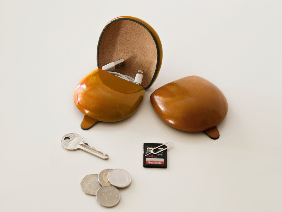 PETRA Coin Case - Caramel, Wallets by Ryoko Bags Dubai. Hand Stitched, using vegetable tanned Japanese leather