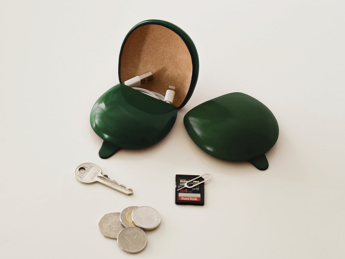 PETRA Coin Case - Green, Wallets by Ryoko Bags Dubai. Hand Stitched, using vegetable tanned Japanese leather