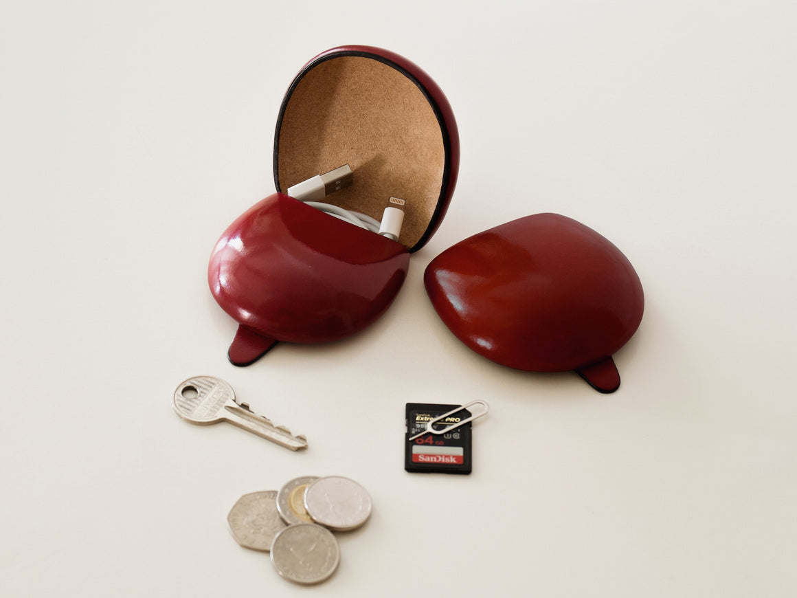 PETRA Coin Case - Wine Red, Wallets by Ryoko Bags Dubai. Hand Stitched, using vegetable tanned Japanese leather