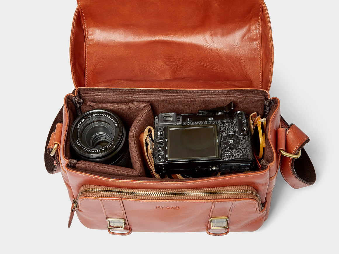 RiO Camera Bag, Travel/Camera Bags by Ryoko Bags Dubai. Hand Stitched, using vegetable tanned Japanese leather