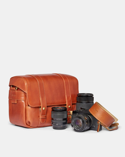MT Rio Camera Bag,  by Ryoko Bags Dubai. Hand Stitched, using vegetable tanned Japanese leather
