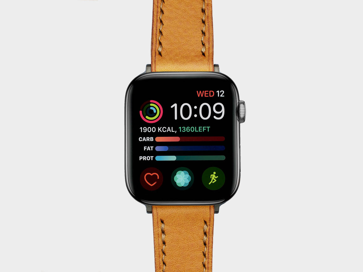 Mustard Apple Watch Strap, Watch Straps by Ryoko Bags Dubai. Hand Stitched, using vegetable tanned Japanese leather