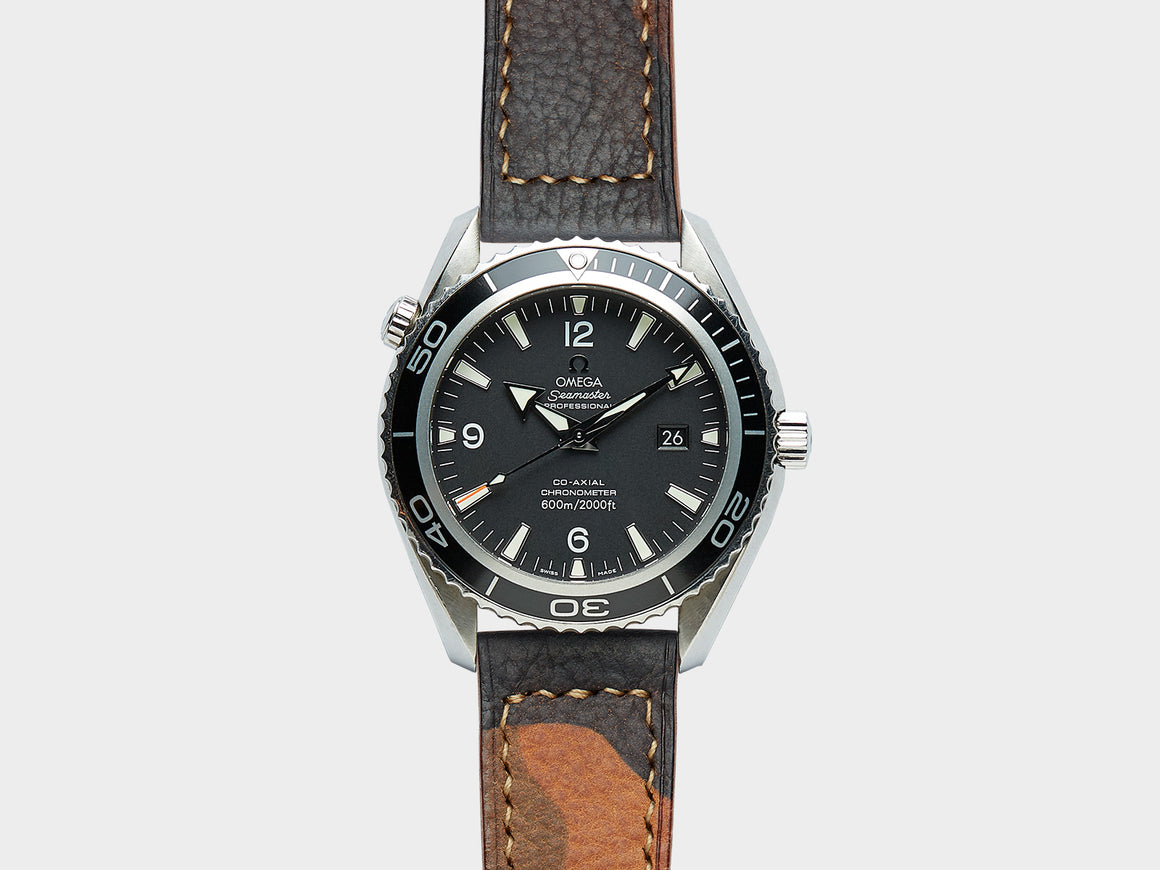 Camo-Green Closed-Stitched Watch Strap, Watch Straps by Ryoko Bags Dubai. Hand Stitched, using vegetable tanned Japanese leather