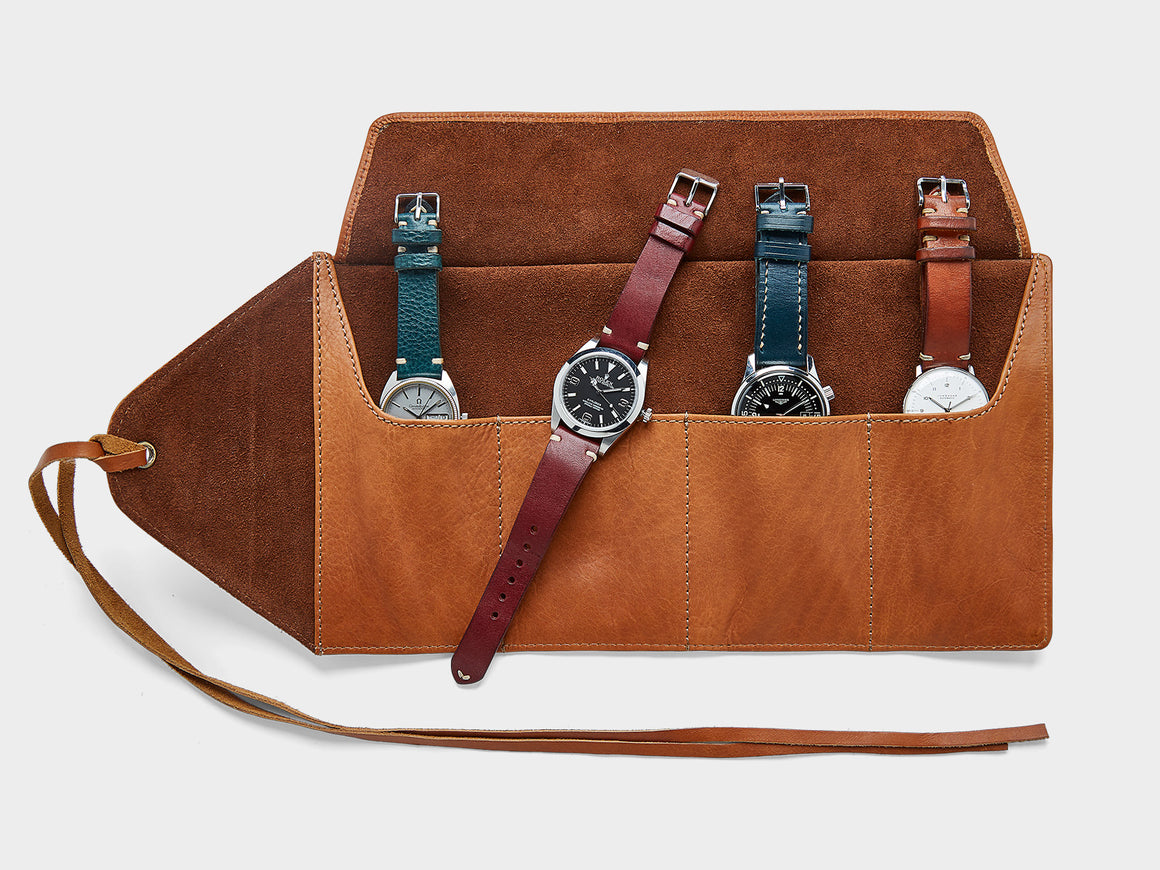 Leather Watch Roll, Bags by Ryoko Bags Dubai. Hand Stitched, using vegetable tanned Japanese leather