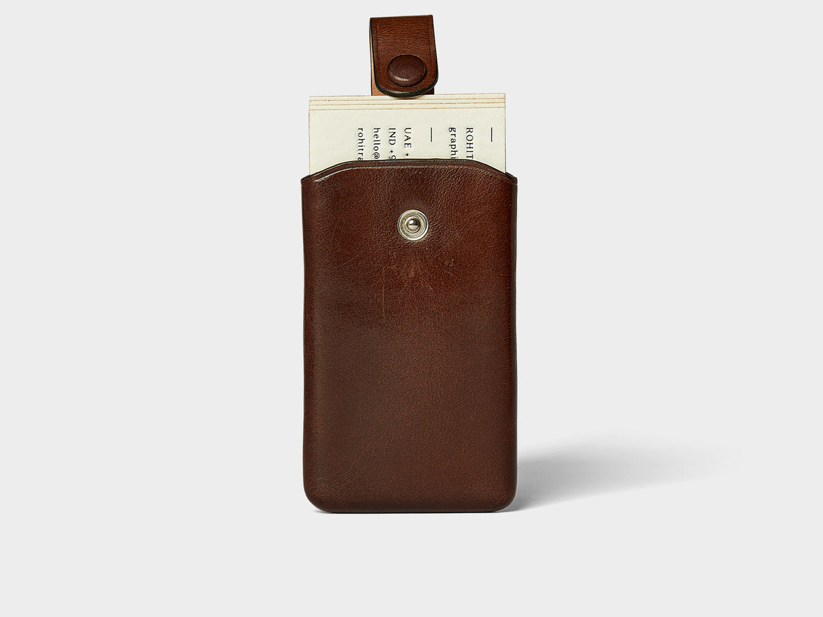SIGNATURE Card Case - Coffee, Wallets by Ryoko Bags Dubai. Hand Stitched, using vegetable tanned Japanese leather
