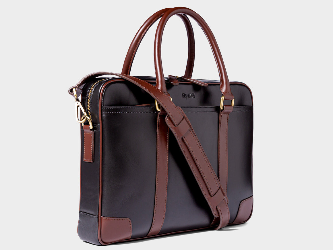 WELLINGTON Laptop Briefcase - Black & Brown, Travel/Camera Bags by Ryoko Bags Dubai. Hand Stitched, using vegetable tanned Japanese leather