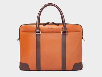 WELLINGTON Laptop Briefcase - Light Tan & Brown, Travel/Camera Bags by Ryoko Bags Dubai. Hand Stitched, using vegetable tanned Japanese leather