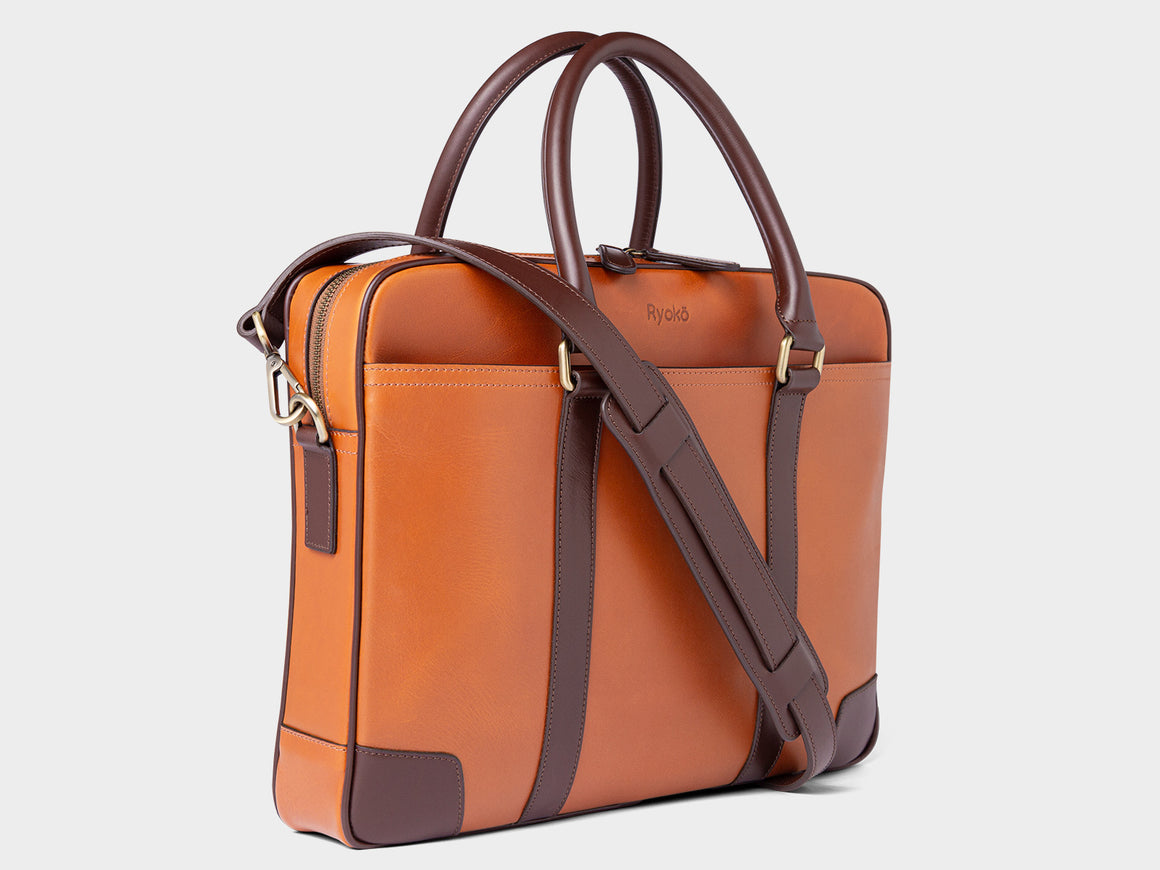 WELLINGTON Laptop Briefcase - Tan & Brown, Travel/Camera Bags by Ryoko Bags Dubai. Hand Stitched, using vegetable tanned Japanese leather