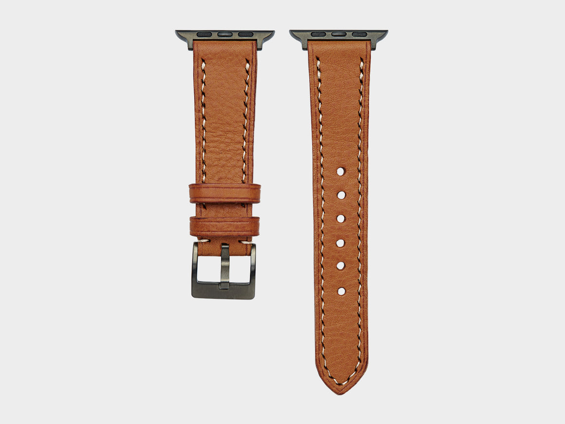 Caramel Apple Watch Strap, Watch Straps by Ryoko Bags Dubai. Hand Stitched, using vegetable tanned Japanese leather