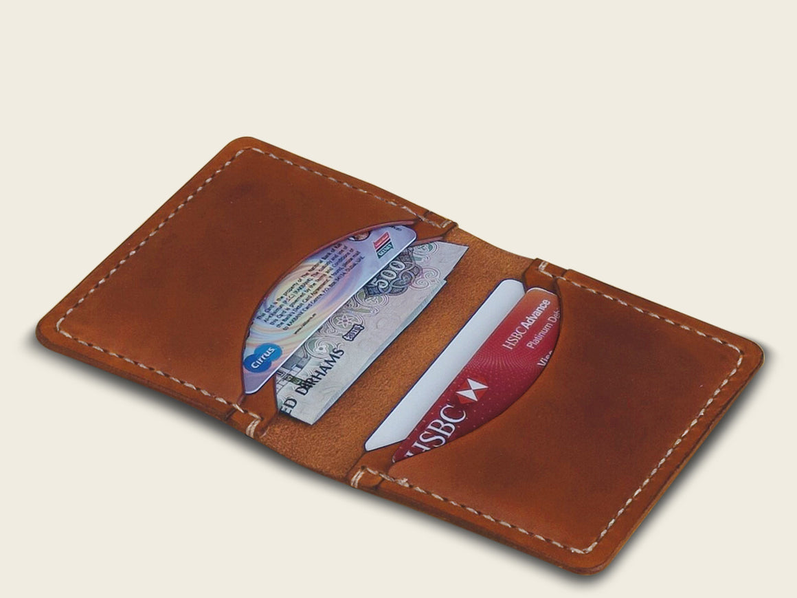DERBY Wallet - Tan, Wallets by Ryoko Bags Dubai. Hand Stitched, using vegetable tanned Japanese leather
