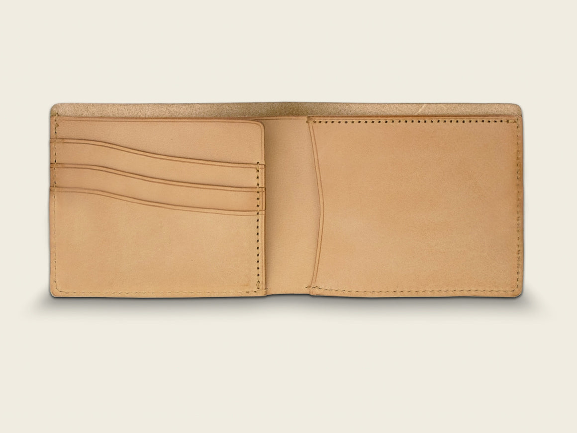 SIGNATURE Bifold - Tan, Wallets by Ryoko Bags. Hand-Stitched Japanese Leather Goods