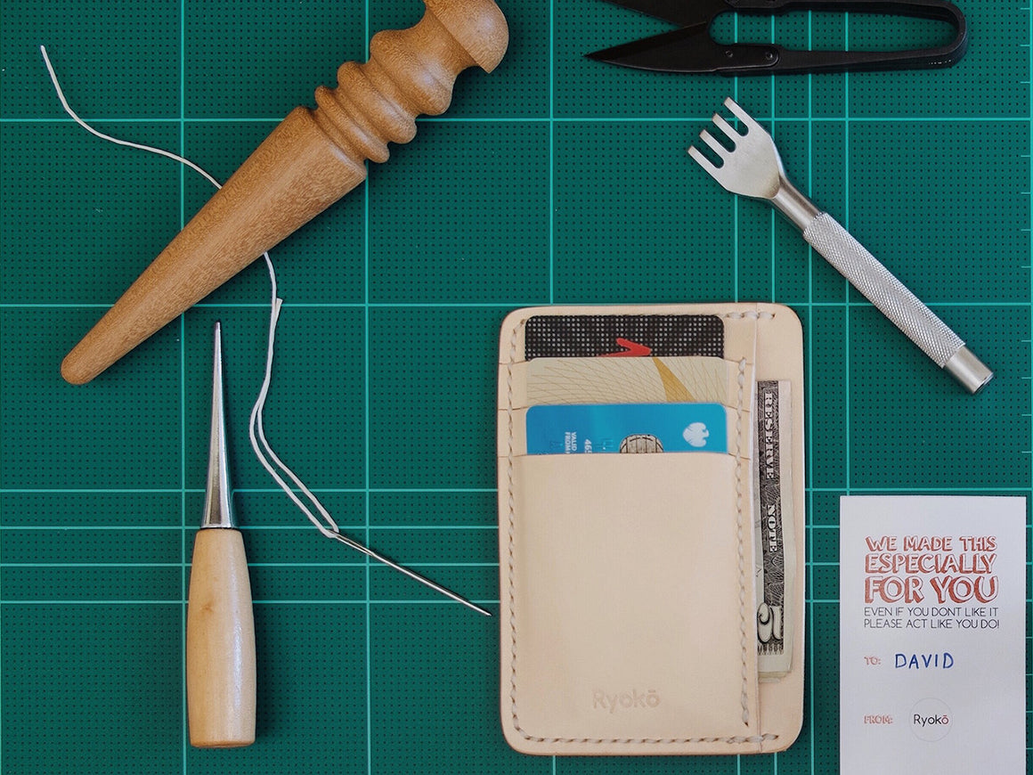 JAVA Ivory, Wallets by Ryoko Bags Dubai. Hand Stitched, using vegetable tanned Japanese leather