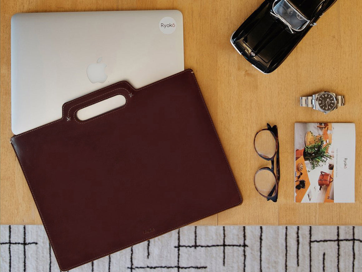 KINGSTON Portfolio/Laptop Sleeve - Brown, Travel/Camera Bags by Ryoko Bags Dubai. Hand Stitched, using vegetable tanned Japanese leather