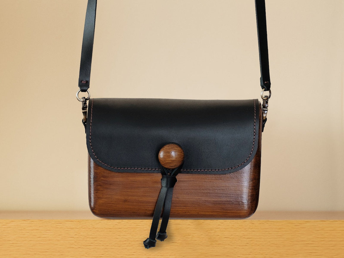 Pinewood+Leather Bag (Dark-Large), Bags by Ryoko Bags Dubai. Hand Stitched, using vegetable tanned Japanese leather