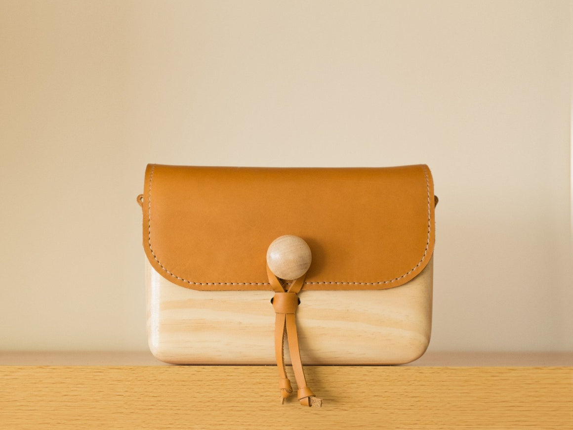 Pinewood+Leather Bag (Tan-Large), Bags by Ryoko Bags Dubai. Hand Stitched, using vegetable tanned Japanese leather