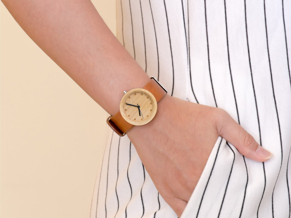 Maple+Tan Watch 32mm, Watches by Ryoko Bags Dubai. Hand Stitched, using vegetable tanned Japanese leather