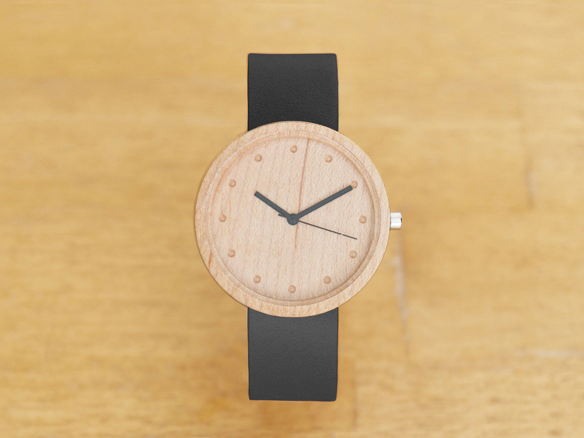 Maple+Black Watch 38mm, Watches by Ryoko Bags Dubai. Hand Stitched, using vegetable tanned Japanese leather