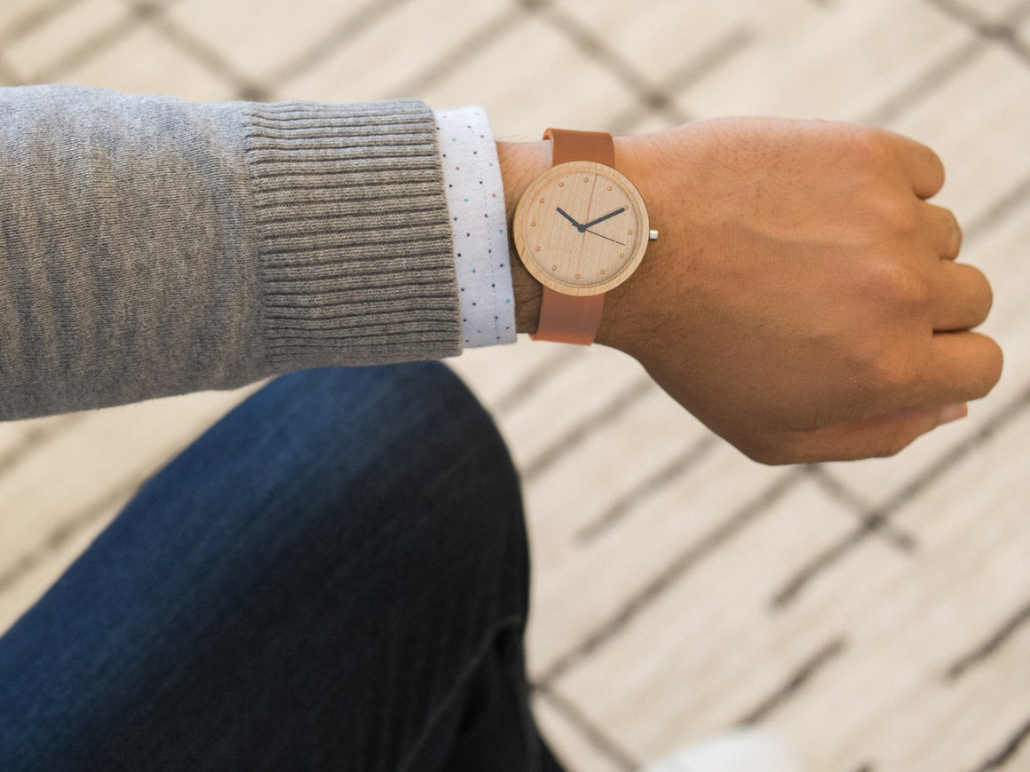 Maple+Tan Watch 38mm, Watches by Ryoko Bags. Hand-Stitched Japanese Leather Goods