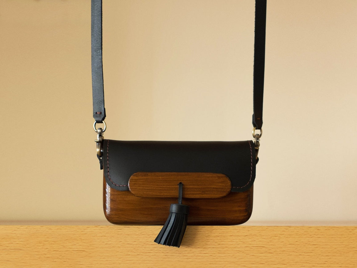 Pinewood+Leather Bag (Dark-Medium), Bags by Ryoko Bags Dubai. Hand Stitched, using vegetable tanned Japanese leather