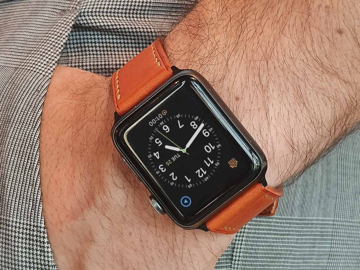 Pumpkin Apple Watch Strap, Watch Straps by Ryoko Bags Dubai. Hand Stitched, using vegetable tanned Japanese leather
