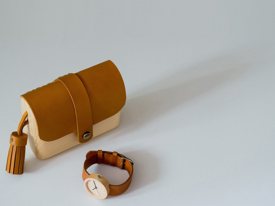 Pinewood+Leather Clutch (Tan-Small), Bags by Ryoko Bags Dubai. Hand Stitched, using vegetable tanned Japanese leather