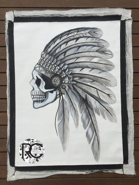 Skull indian headdress medium canvas black white painting wall rubycube products