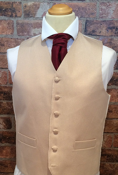Coffee Tenby Waistcoat with Burgundy Cravat