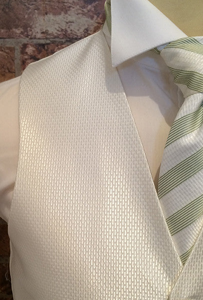 Ivory Avante Garde with matching Ivory/Green Stripe Tie