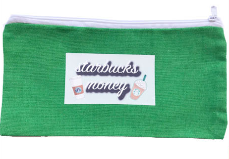 starbucks money wallet and make up bag