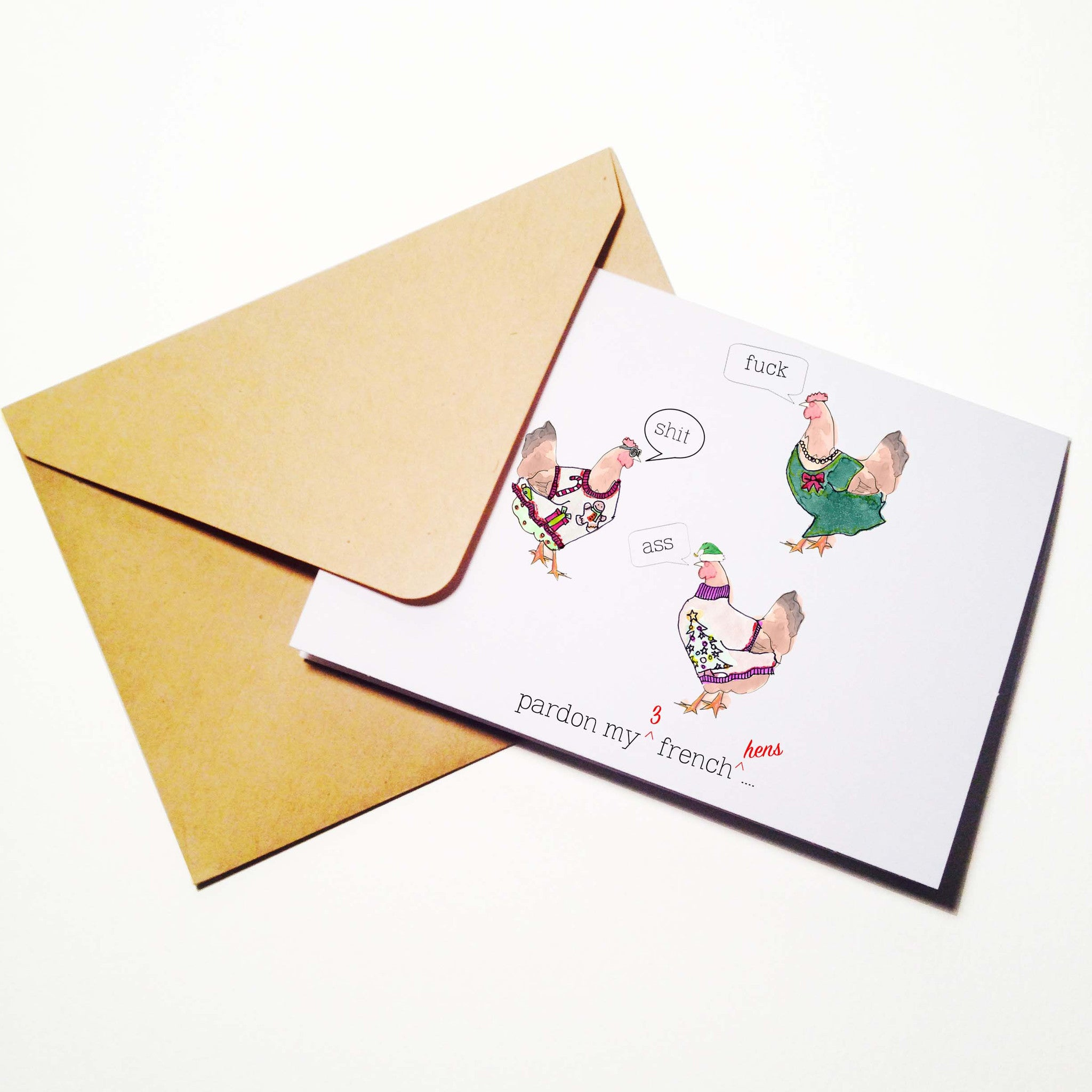 Pardon My French Hens Christmas Card