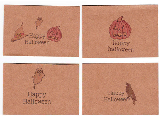 Set of 4 mini Halloween Cards & Envelopes