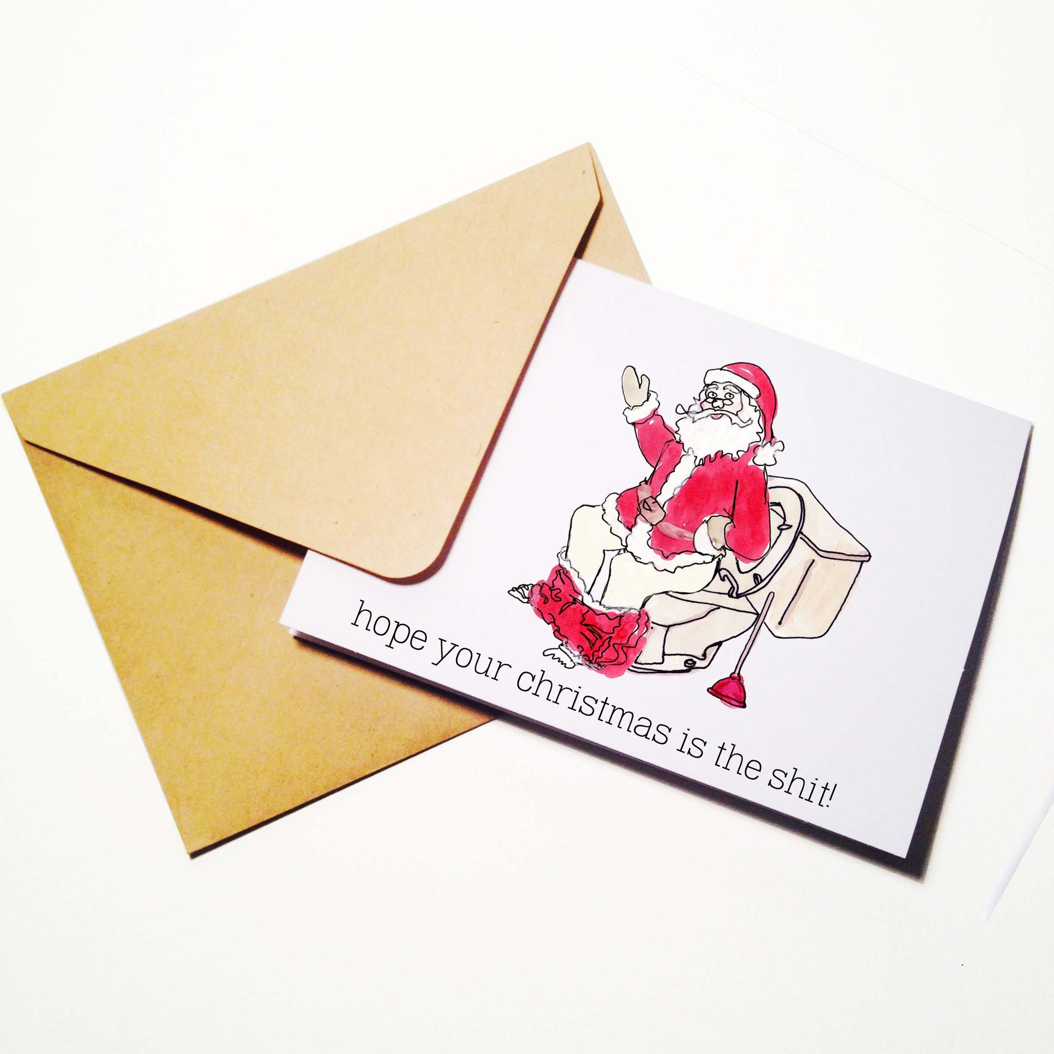 Toilet Santa Holiday Card