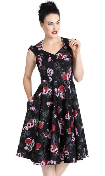 python rose 50s dress hell bunny
