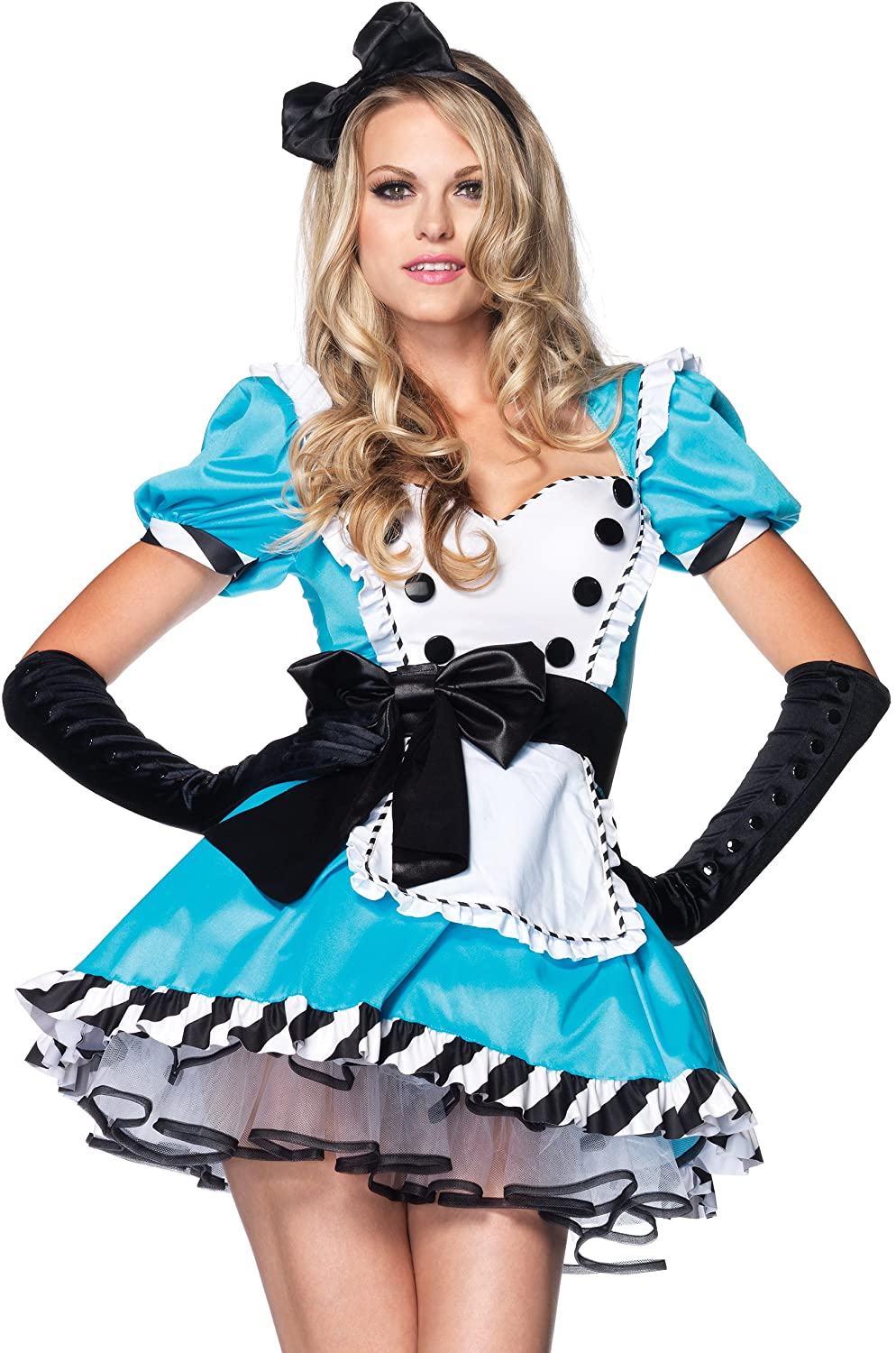 Charming Alice 2 piece costume includes ruffle trimmed apron dress with large bow accent and matching bow headband