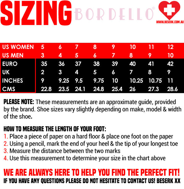 Bordello Shoes Sizing Guide