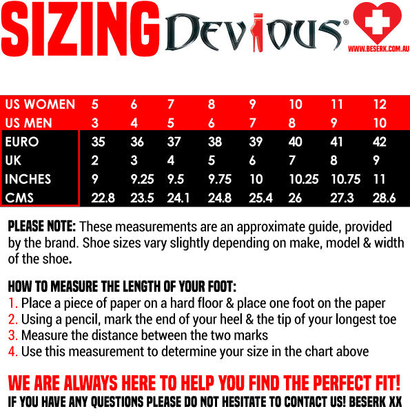Devious Shoes Sizing Guide