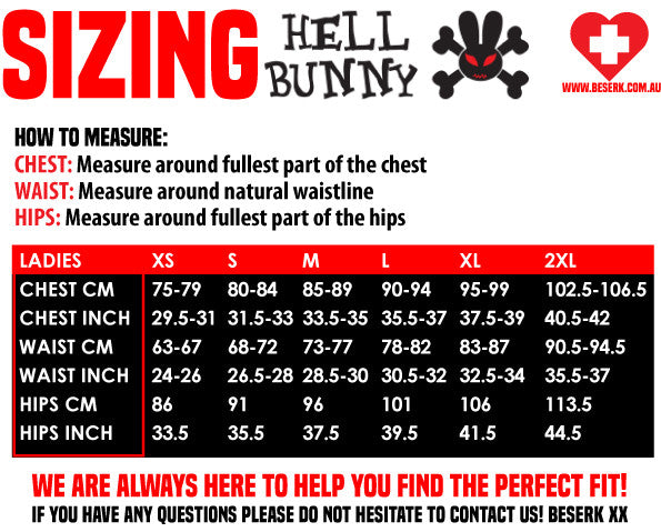Hell Bunny Sizing Guide