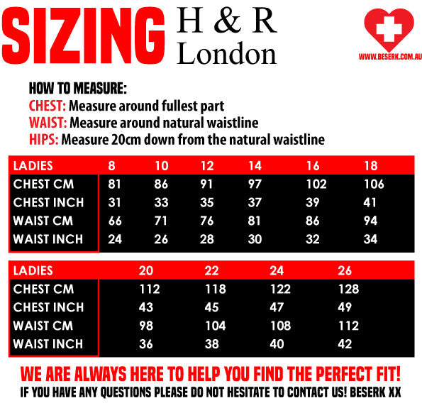 H&R London Sizing Guide